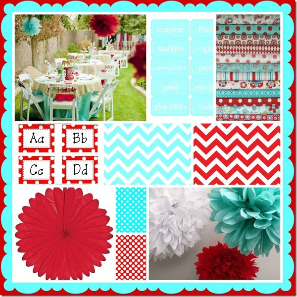 red and aqua inspiration board by Schoolgirl Style - perfect with my Cat in the Hat theme