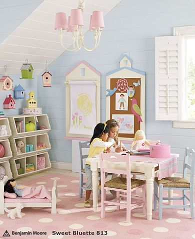 cottage bedroom... hmm... I LOVE the bird houses hanging in the corner... GREAT idea to do in Tenleys new room.. her roof slopes a bit more though..