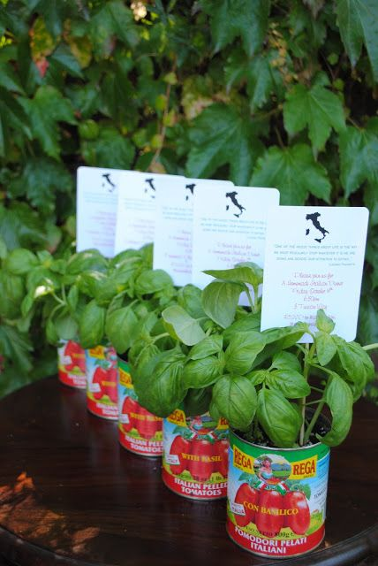 Centerpiece idea: basil and tomato cans for an Italian dinner party