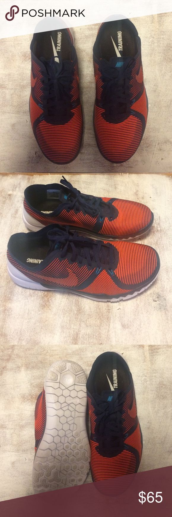 Nike Free 3.0 V4 training shoes Orange and navy striped Nike frees. Worn only twice! Size 9.5 fits true to size Nike Shoes Athletic Shoes
