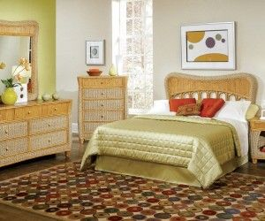 inspiring indoor wicker furniture bedroom idea - Wicker Bed Frame
