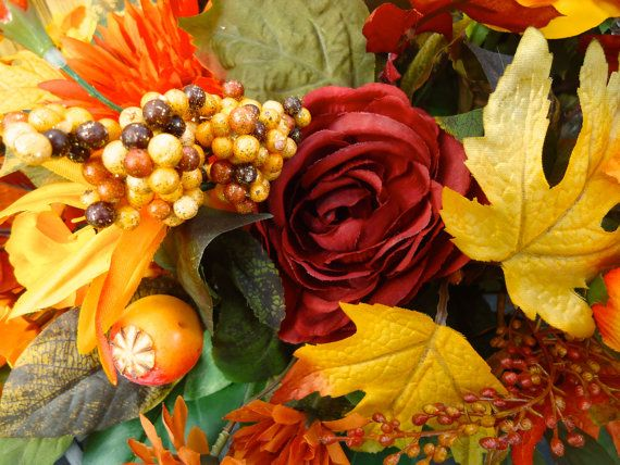 Fall Floral Table Arrangement Dinning Table by NaturesTrueArt