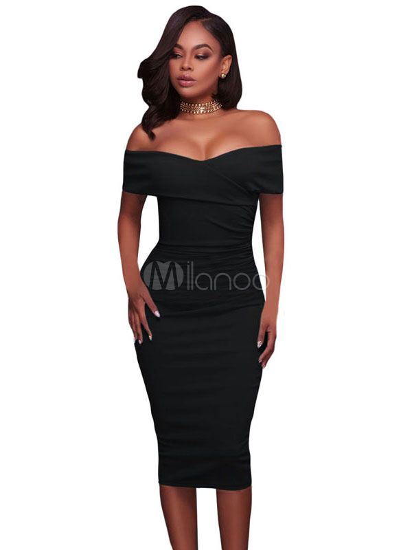 591d734acc40cd White Bodycon Dress Off The Shoulder Short Sleeve Ruched Sexy Midi Wrap  Dress - Milanoo.com
