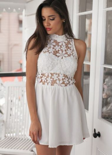 Buy Sheer White Crochet Mini Dress for only $55.00. Browse the UsTrendy catalog for the latest trends in indie fashion!