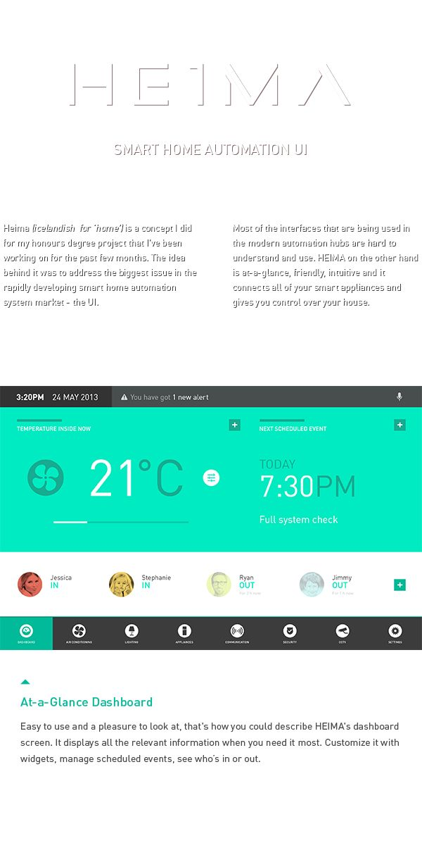 HEIMA. Smart Home Automation UI. by Dmitrij Paškevič, via Behance