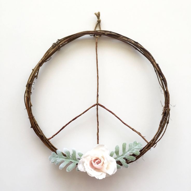 Peace Sign Wreath/Boho Wreath/Boho Chic Wreath/Modern Wreath/Boho Wall Hanging/Boho Art/Boho Decor/Peace Wreath/Boho Wedding/Rustic Wreath by SunshineSkyStudio on Etsy