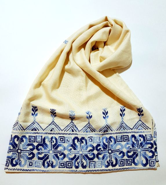 """Palestinian hand embroidered white scarfSize: 18"""" X 60"""""""