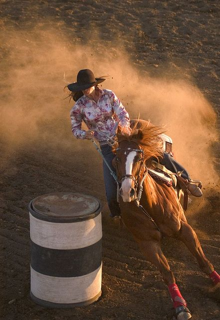 In South Dakota, a cowgirl competes in a barrel racing competition. #visitrapidcity