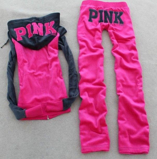 pants pink tracksuit hoodie sexy sweet victoria's secret