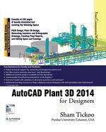 AutoCAD Plant 3D 2014 for Designers textbook introduces the readers to AutoCAD Plant 3D 2014, one of the worldメs leading application, designed specifically to create and modify P&IDメs and plant 3D models. In this textbook, the author emphasizes on the features of AutoCAD Plant 3D 2014 that allow the user to design piping & instrumentation diagrams and 3D piping models.