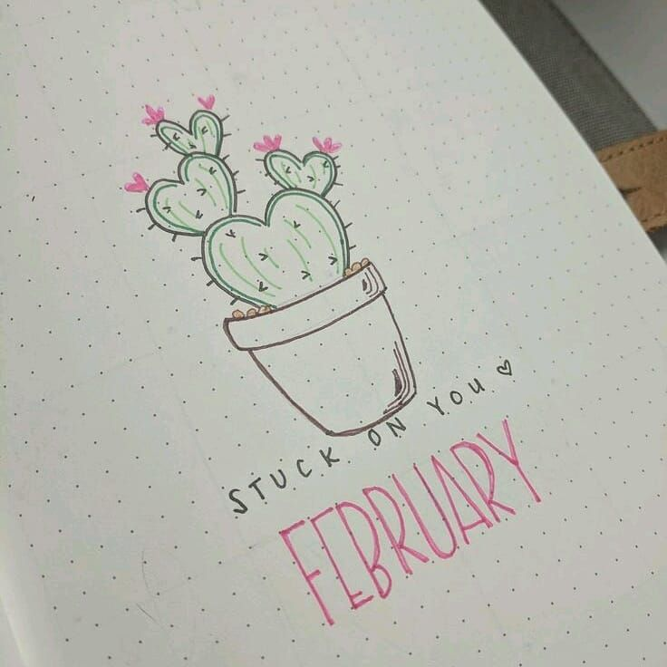 Bullet journal monthly cover page,  February cover page,  cactus drawing,  Valentine's Day bullet journal theme.  | @lovestudiesz
