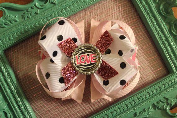 Sparkle Pink & Black LOVE Boutique Bow