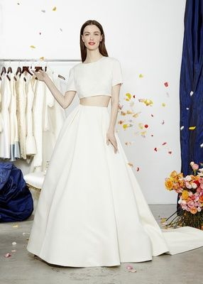 "Cropped t-shirt with ""Deville"" ball skirt by Dee Hutton Bridal Collection Spring 2015.  Photography: Courtesy of Dee Hutton Bridal. Read More:  http://www.insideweddings.com/news/fashion/dee-hutton-bridal-collection-spring-2015/1879/"