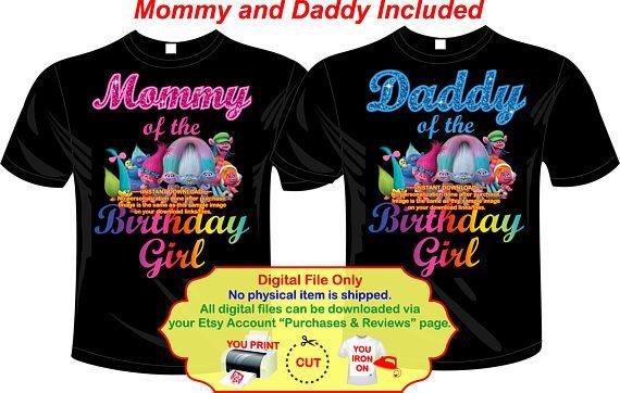 c3ccd826 DIY Trolls Birthday Shirt Iron On, Trolls Mommy of, Trolls Daddy of, Trolls  Party, Trolls Download, Trolls Birthday - TROLLSMOMDADBLACK