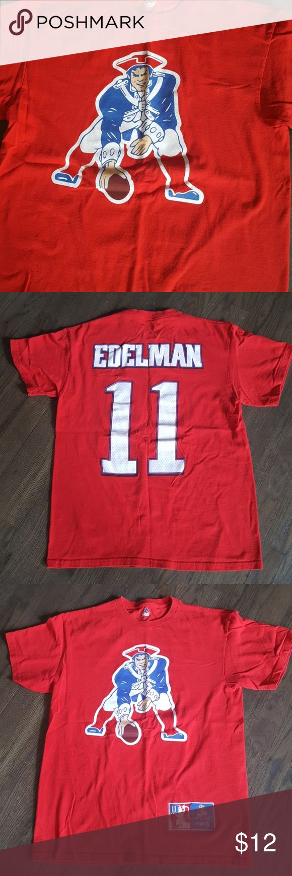 """Patriots Pride Edelman #11 T-Shirt Purchase today, get it in time for Sunday's game!  Authentic item purchased at Patriots Place, only worn once or twice. Measures 19"""" across chest,  25"""" shouldwr to hem. Majestic Shirts Tees - Short Sleeve"""