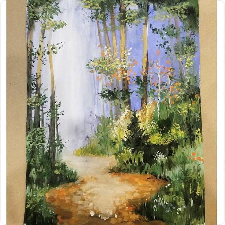 «#painting #landscape  #акварель #рисовашки  #рисунок #ярисую #рисовашки #instaart #forest #landscape»