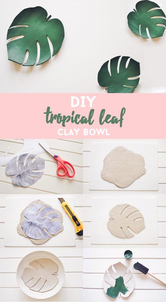 DIY tropical leaf clay bowl