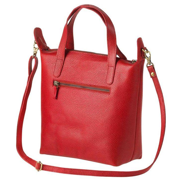 Taschen und Rucksäcke : Schultertasche, mit Reißverschluss, Außen- und Innentaschen, Schulterriemen verstellbar, orientrot, eco-Leder, 21x23x10