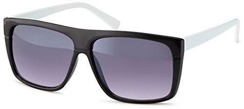 Wayfarer Nerd Brille Sonnenbrille Vintage verspiegelt Pilotenbrille Herren Damen, Rahmenfarbe:Schwarz Weiß