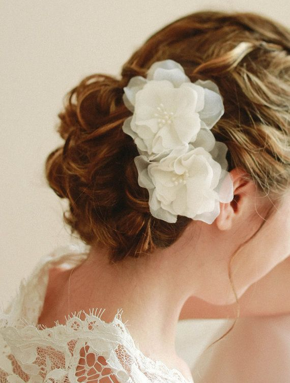 STYLE - #115 CODE:HRP007 Chiffon flowers hair pins. Wedding flower hair pin set are soft and delicate. The flower duo is made is airy chiffon and the center is decorated with pearl stamens. To order yours contact us at loca@localoca.co.za www.localoca.co.za