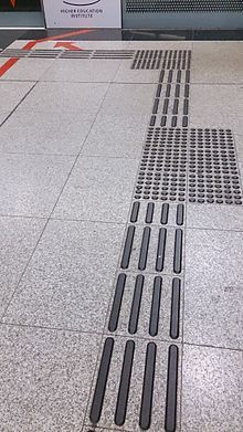 Tactile paving - Wikipedia, the free encyclopedia                                                                                                                                                                                 More