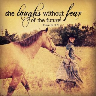 she laughs without fear of the future.
