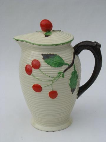 Vintage Japan Majolica style pottery pitcher