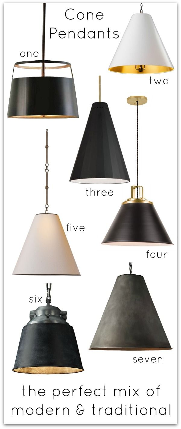 Cone pendants - love them over kitchen islands!