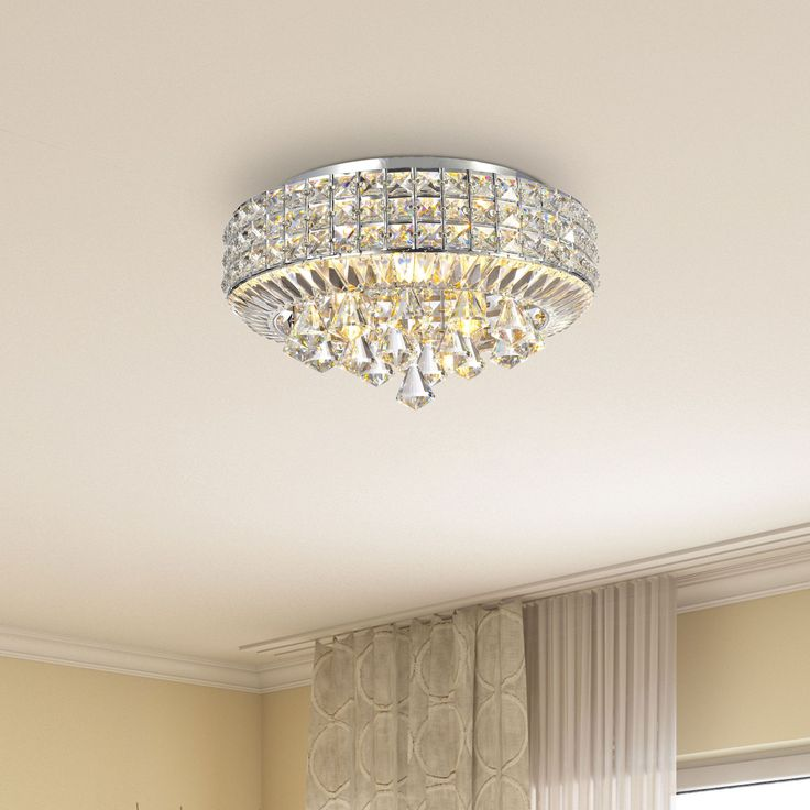Jolie Chrome 4-light Crystal Flush Mount Chandelier (Chrome, 4-Light, Crystal, Flush Mount), Clear