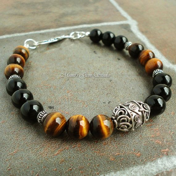 Black Onyx Tiger Eye Bali Sterling Silver Bracelet for Men, Guys, Dads, Beaded Black Brown Gemstone Mens Jewelry