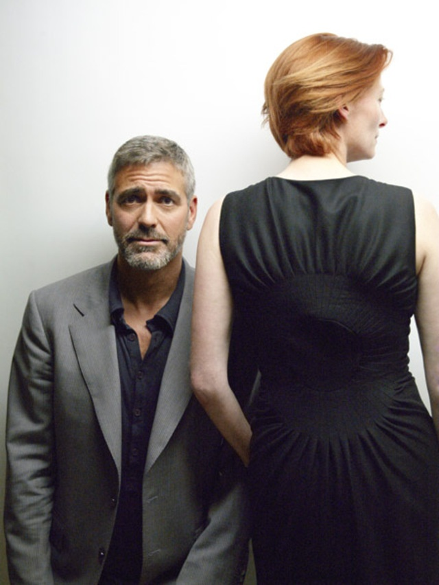 George Clooney and Tilda Swinton. George, you look concerned.