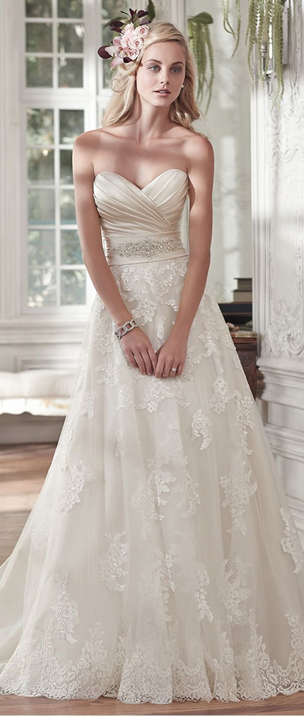 Elegant Satin & Tulle Sweetheart Neckline A-line Wedding Dresses With Beaded Lace Appliques                                                                                                                                                                                 More