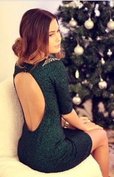 green dress backless dress
