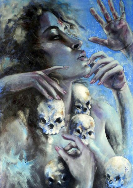 [Kali] She can spiritually hack away at the handcuffs that keep us shackled to the hungry ghosts of the past.There comes a point in the process when you must surrender fully to her healing powers,& let her bring you back cleansed, transformed, whole.-Rev. Laurie Sue Brockway