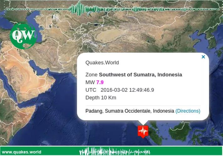 Indonesia MW 7.9 - The plate boundary southwest of Sumatra is part of a long tectonic collision zone that extends over 8000 km from Papua