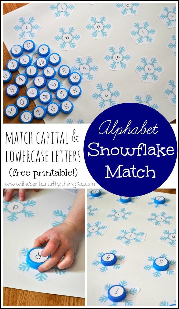 Preschoolers can match Capital and Lowercase letters with this Snowflake Alphabet Game. Free Printables included in the post. From iheartcraftythings.com
