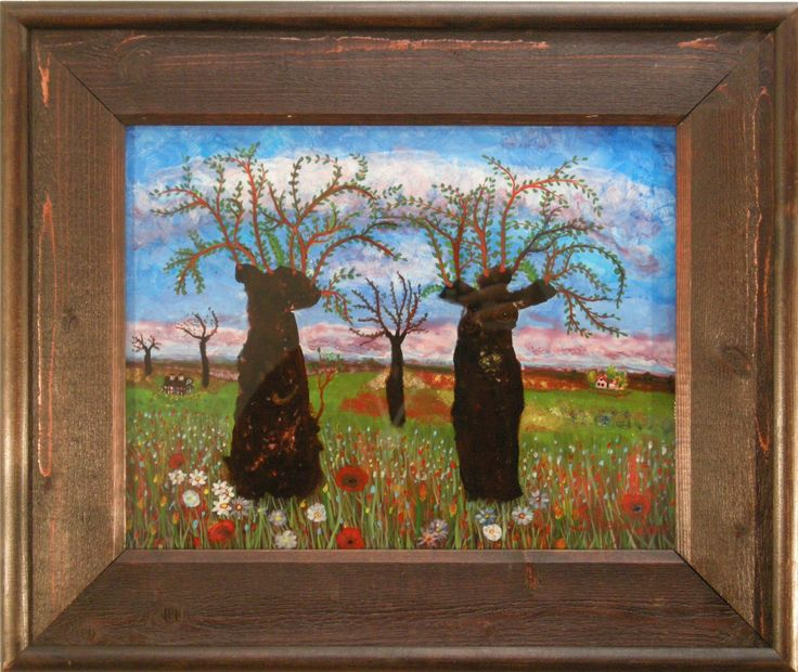 """Painting on glass made by Strahinja Novovic """"Straja"""". Living in Sweden."""