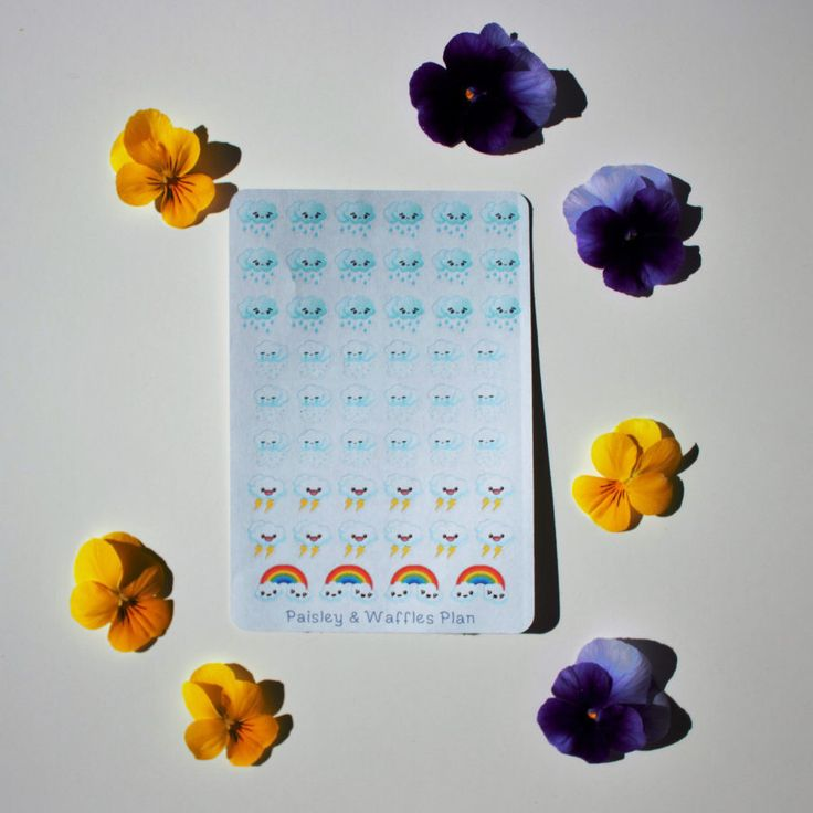 A personal favorite from my Etsy shop https://www.etsy.com/ca/listing/384600940/weather-mini-stickers-rain-snow-thunder