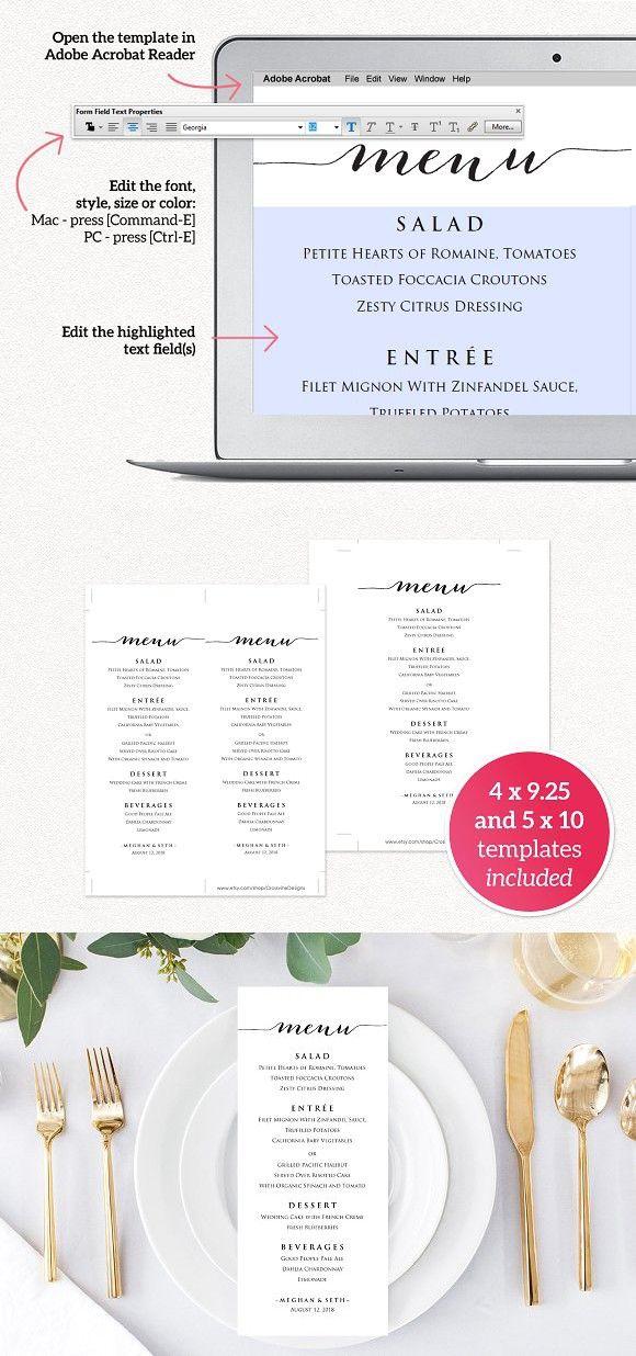 wedding reception menu template pinterest menu templates