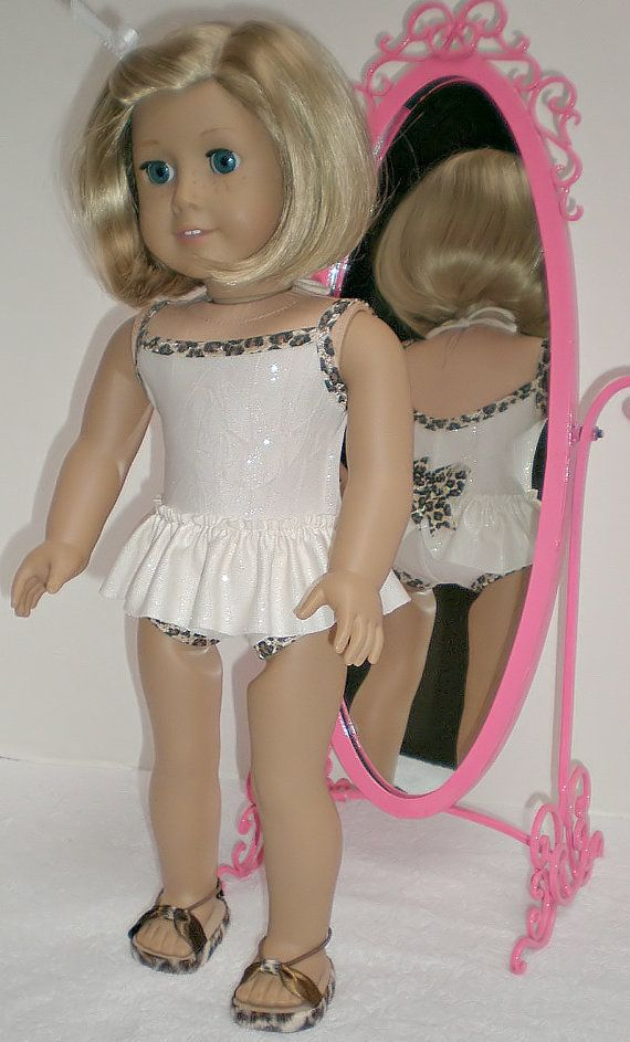 American Girl Doll Clothes -- Leopard & Cream Swimsuit, Sandals** made to fit 18 inch American Girl doll