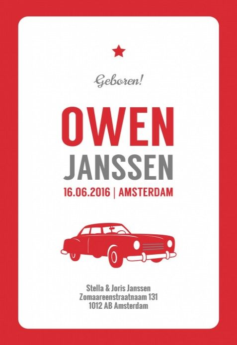 Stoer letterpress stijl geboortekaartje met een vintage kader en een retro rode auto. Heel stoer baby kaartje voor een jongetje!