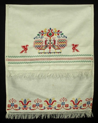 Slovak embroidered folk art show towel peacocks ethnic embroidery linen