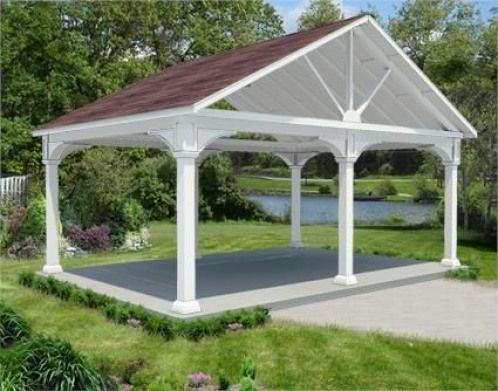 12 X 20 Vinyl Long Gable Ramada Shedplans In 2020 Backyard Pavilion Pergola Pergola Plans Roofs