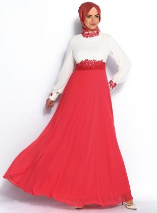 Güpür Süslemeli Abiye Elbise - Ekru - Mercan - Modaysa