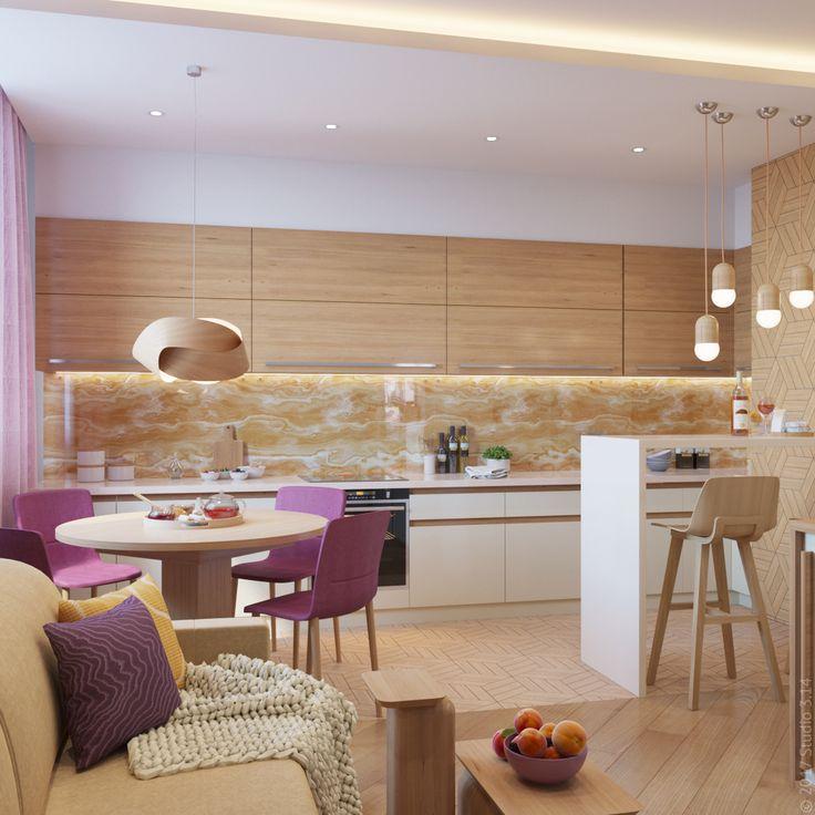 """Гостиная-кухня из проекта """"Янтарная мелодия"""". Вид на кухонную зону."""