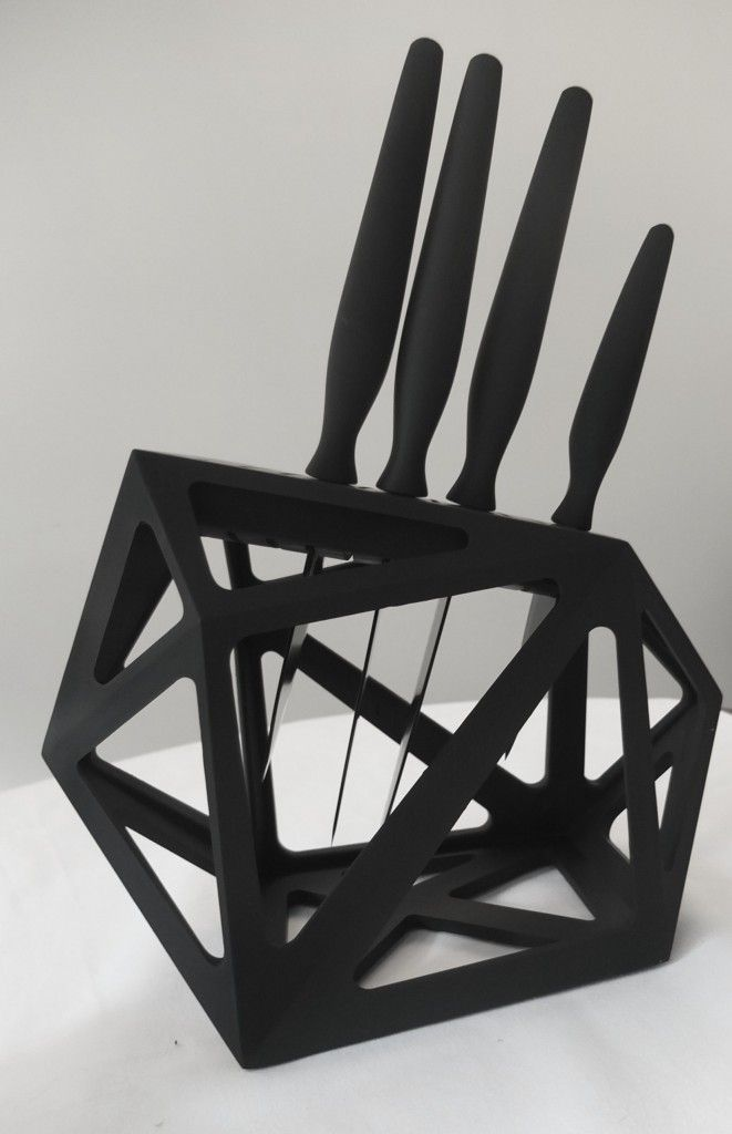 Modern Black Diamond geometric knife block and Precision chef's knives from Edge of Belgravia