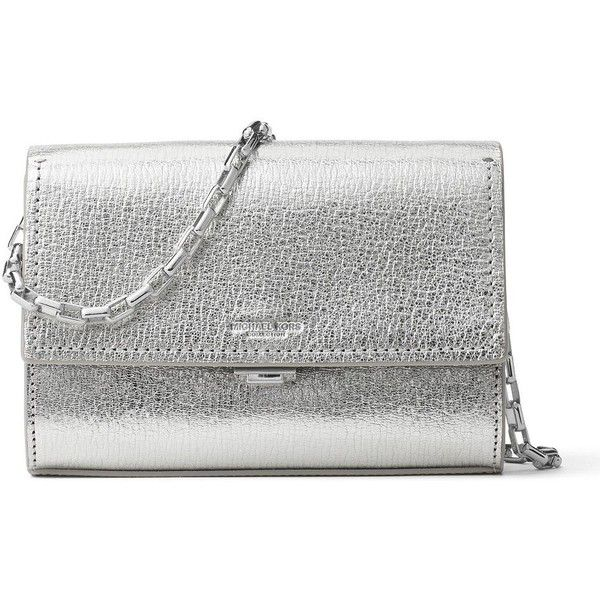 Michael Michael Kors Yasmeen Small Metallic Leather Clutch ($590) ❤ liked on Polyvore featuring bags, handbags, clutches, silver, chain-strap handbags, leather handbags, metallic purse, leather clutches and chain strap purse