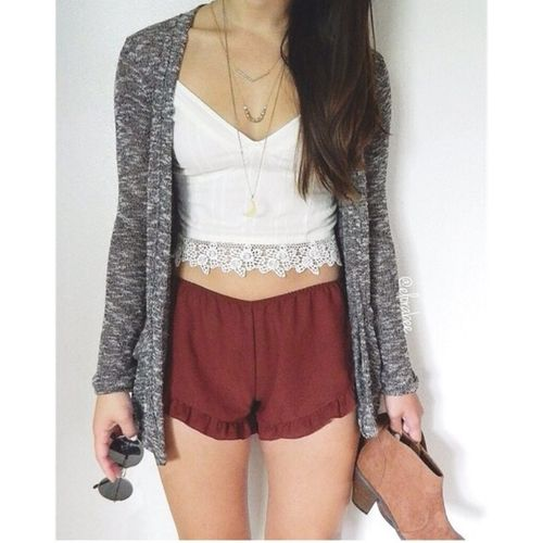 Gray Cardigan w/ Maroon Shorts and Lace Bralet http://blingblingbling1.blogspot.co.uk/p/blog-page.html #summer -  #bralet,  #jewelry  #sunglasses -  #brunette,  maroon