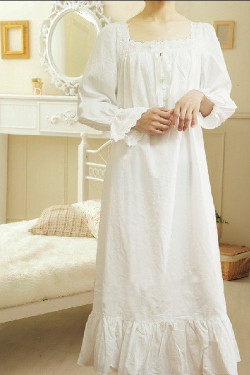 Nightgown sexy long-sleeve princess royal ultra long quality women's 100% cotton white plus size ultra long nightgown sleepwear