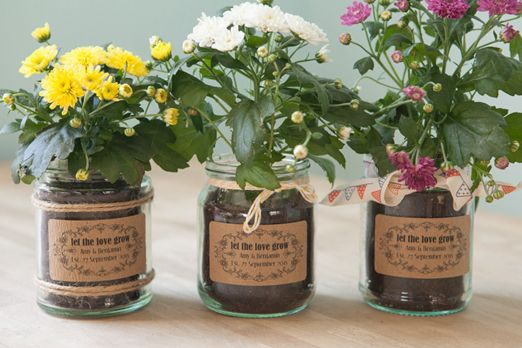 Planted wedding favours with personalised rustic label
